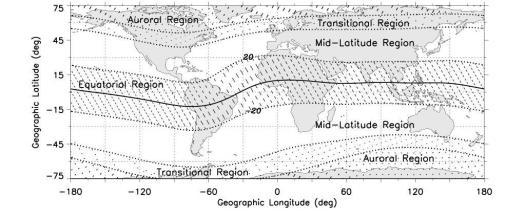 Mapa de Regiones con mayor perturbaciones geomagnéticas.