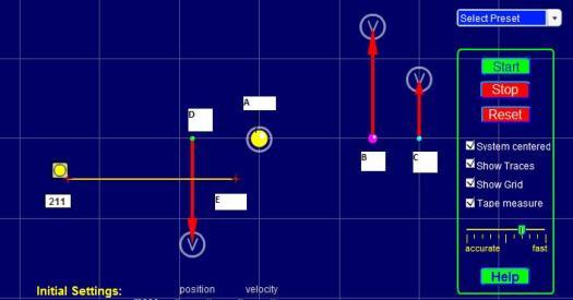 Panel de control del simulador, posiciones y bases