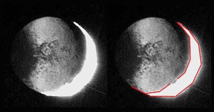 Análisis del esferoide Iapetus. Incidencia de la luz y su forma