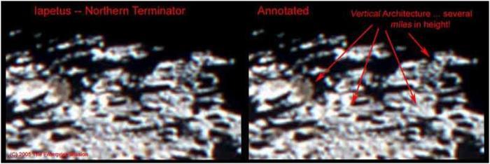 Detalle de estructuras artificiales en iapetus II