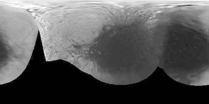 Despliegue de fotografía por Cassini 2004. Aristas y morfología artificial
