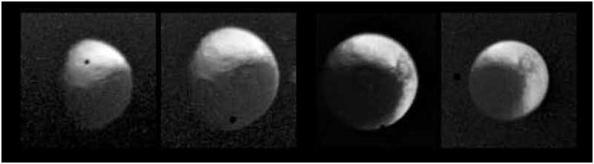 Anomalía rotacional sincrónica de Iapetus y el punto negro.