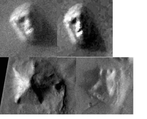 Original Viking imagen-Izq(arriba),derecha (NASA Files), Izq(abajo) Pirámide DyM, Dcha(Abajo)El fuerte.