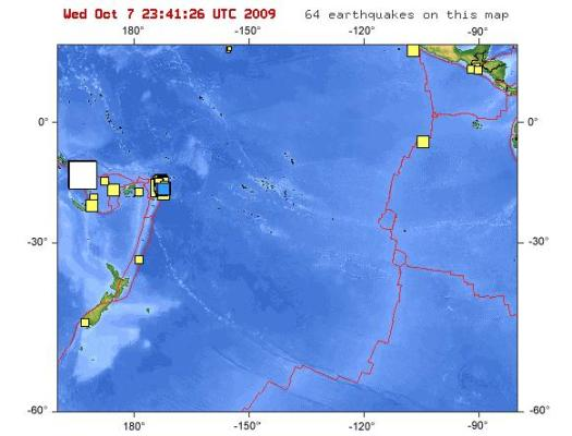 El punto blanco representa movimiento sísmico de fuerza superior a 7MW