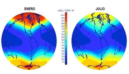 Distribución de la tasa de radiación CGR alrededor del globo.