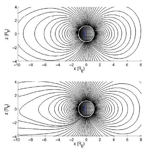 El esquema contrasta los efectos de las SEP's y CGR's sobre las líneas de la magnetósfera.