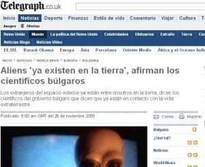 Print Screen de la Noticia en el diario Telegraph.