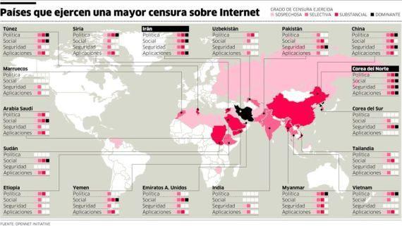 mapa de países con censura en internet