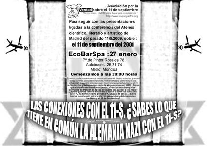Poster charla sobre la financiación del 11-S y la conexion con la Alemania Nazi y otros eventos de Bandera Falsa