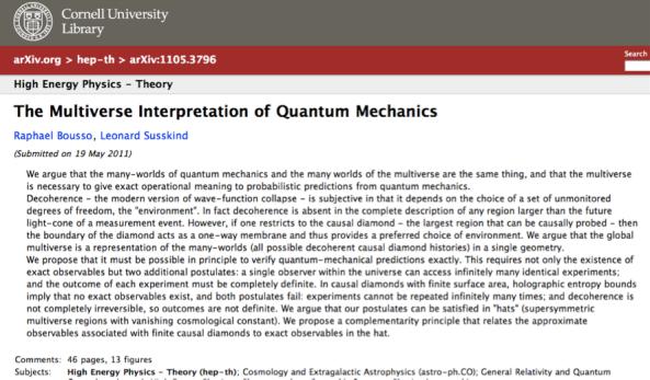 Multiversos y realidades supersimétricas desde el punto de vista del observador.La ecuación de decisión. Paper1